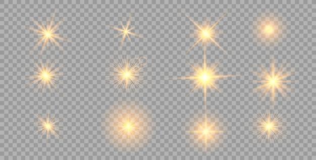 Efeito de luzes brilhantes ouro, flare, explosão e estrelas.