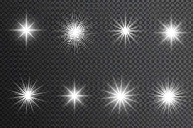 Efeito de luzes brilhantes, reflexo, explosão e estrelas. brilhos brancos sobre fundo transparente.