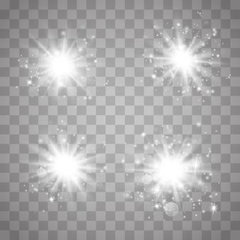 Efeito de luzes brilhantes, reflexo, explosão e estrelas. conjunto de efeitos de luzes brilhantes brancos existentes em um fundo transparente. flash solar com raios e holofotes.
