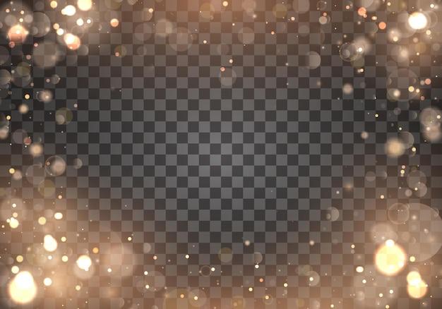 Efeito de luzes de bokeh brilhante abstrato gold light