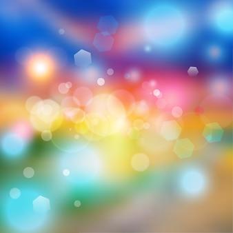 Efeito de luzes de bokeh em gradiente colorido