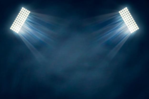 Efeito de luzes do estádio com névoa