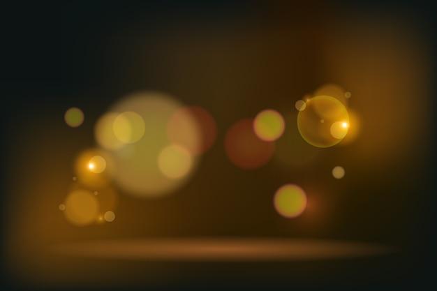 Efeito de luzes douradas bokeh em fundo escuro