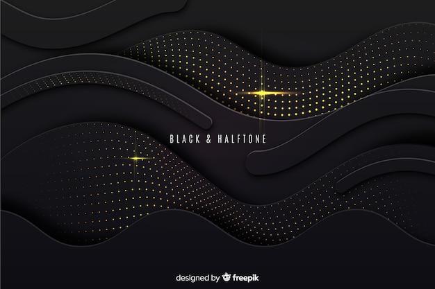 Efeito de meio-tom de fundo preto ondas