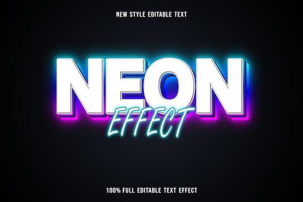 Efeito de néon de efeito de texto editável em branco azul, verde e rosa