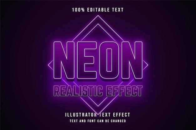 Efeito de néon realista, efeito de texto editável em 3d gradação de rosa e efeito de néon roxo