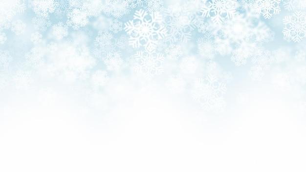Efeito de neve caindo de natal com flocos de neve brancos em fundo azul claro