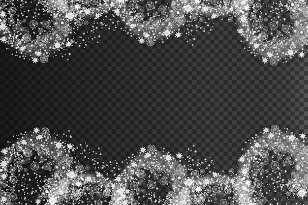 Efeito de neve em redemoinho de feliz natal com flocos de neve brancos brilhantes realistas