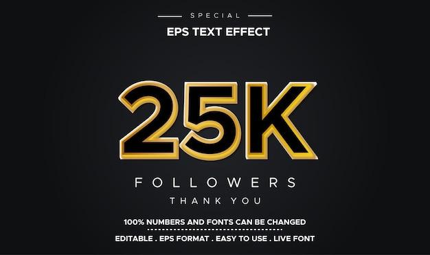 Efeito de número 25k de estilo de texto editável