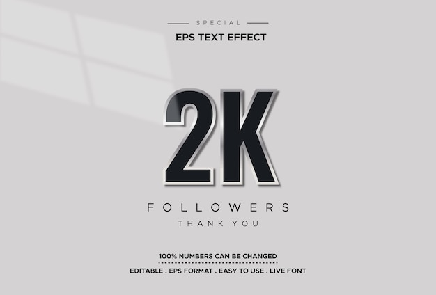 Efeito de número 2k de estilo de texto editável