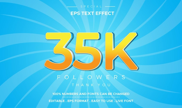 Efeito de número 35k de estilo de texto editável