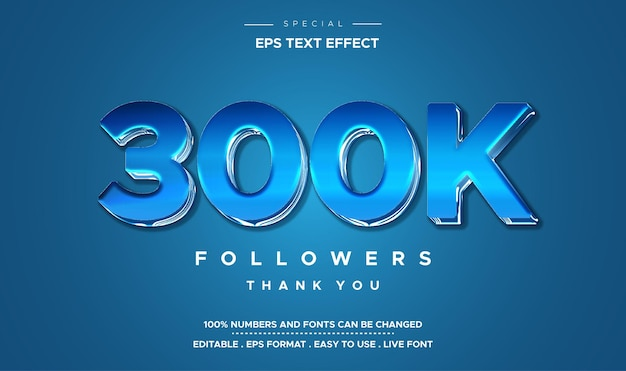 Efeito de número de 300k em estilo de texto editável