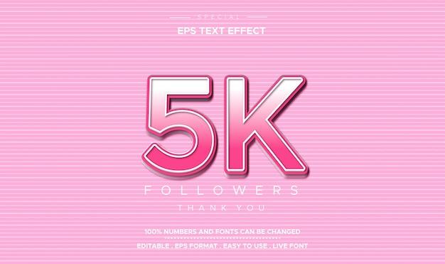 Efeito de número de seguidores de 5 mil seguidores em estilo de texto editável