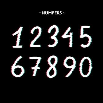Efeito de números de vetor de distorção de tela de falha congelada