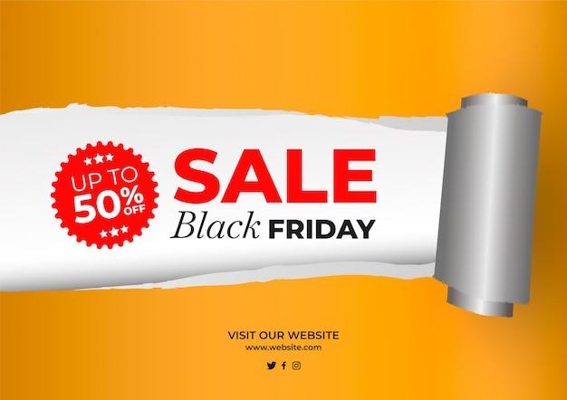 Efeito de papel rasgado de venda black friday