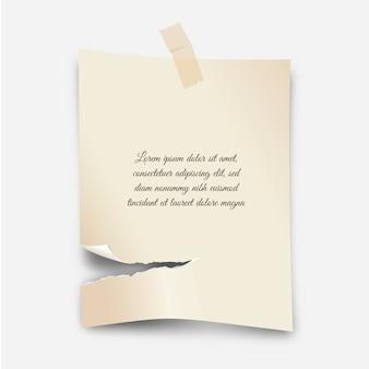Efeito de papel rasgado realista com fita adesiva