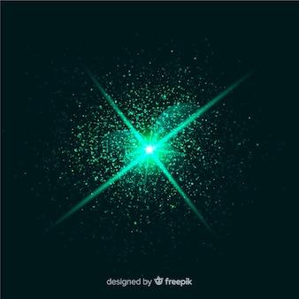 Efeito de partícula de explosão verde abstrato