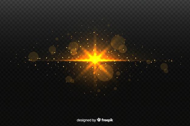Efeito de partículas de explosão brilhante com fundo transparente