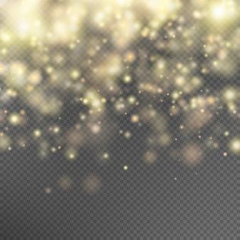 Efeito de partículas de glitter dourados.