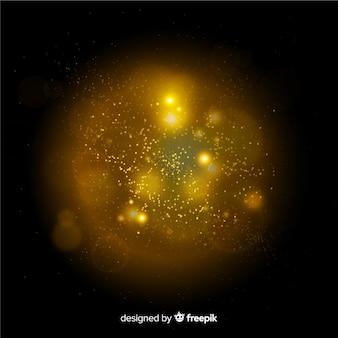 Efeito de partículas flutuantes amarelas