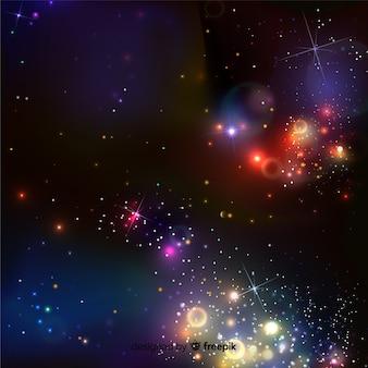 Efeito de partículas flutuantes coloridas