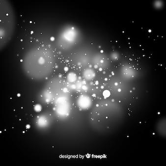 Efeito de partículas flutuantes em preto e branco