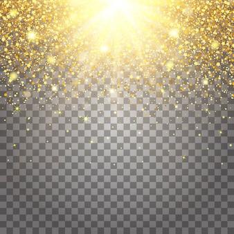 Efeito de peças voadoras glitter dourados de luxo