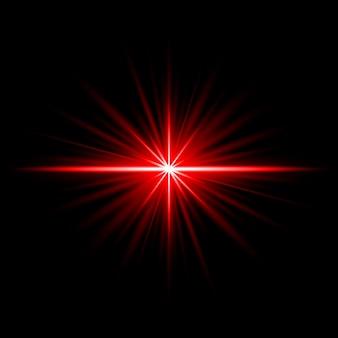 Efeito de raio de reflexo de luz vermelha abstrata iluminado