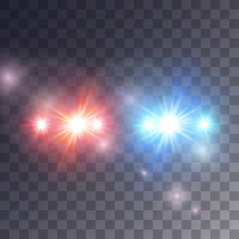 Efeito de sirene de luzes em fundo escuro, ilustração