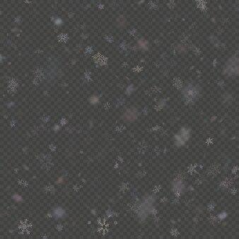 Efeito de sobreposição de flocos de neve caindo roxo teplate sobre fundo transparente.