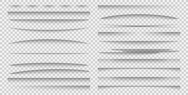 Efeito de sobreposição de sombra. maquete de divisor de papel de formas realistas diferentes definir sombras de cartaz ou banner de publicidade, separação de folhas quadro coleção de vetores de modelo isolada em fundo transparente