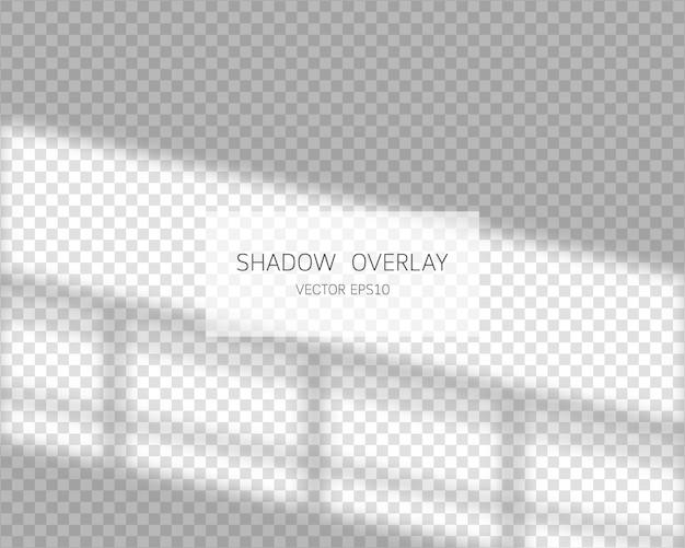 Efeito de sobreposição de sombra. sombras naturais da janela em fundo transparente. ilustração.