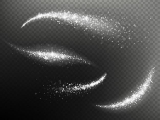 Efeito de sobreposição mágica brilhante traço brilho onda de pó de estrela glitter.