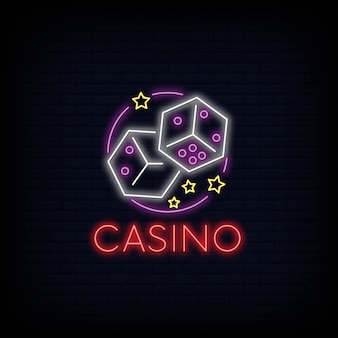 Efeito de tabuleta de sinal de néon de casino on-line