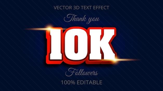 Efeito de texto 10k 3d design criativo