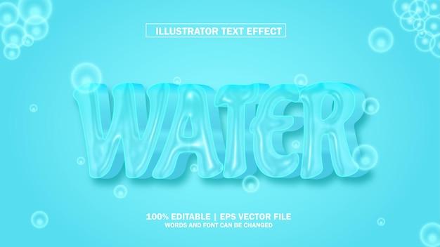 Efeito de texto 3d água ilustrador premium