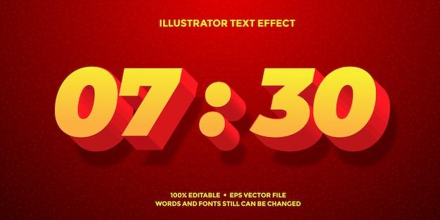 Efeito de texto 3d amarelo sombra vermelha