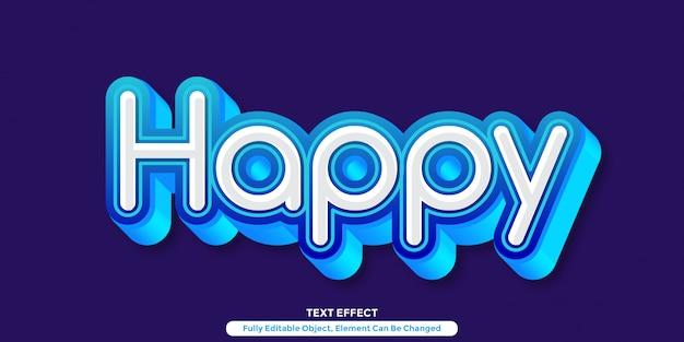 Efeito de texto 3d azul claro