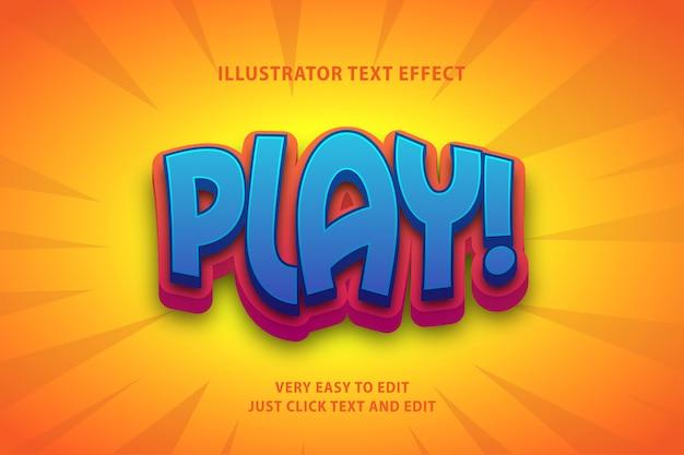 Efeito de texto 3d azul vermelho dos desenhos animados, texto editável