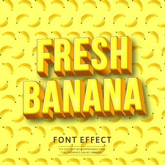 Efeito de texto 3d banana negrito