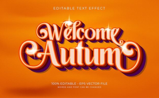 Efeito de texto 3d bem-vindo conceito de outono vetor premium