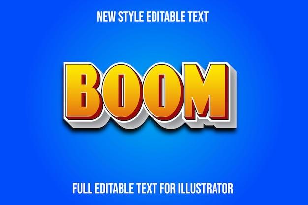 Efeito de texto 3d boom cor gradiente amarelo e branco