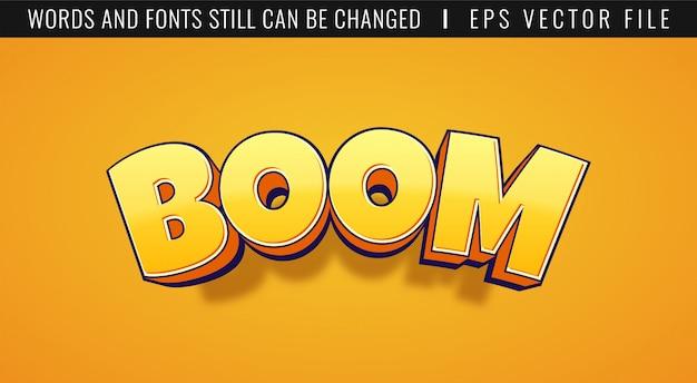 Efeito de texto 3d boom. estilo cômico