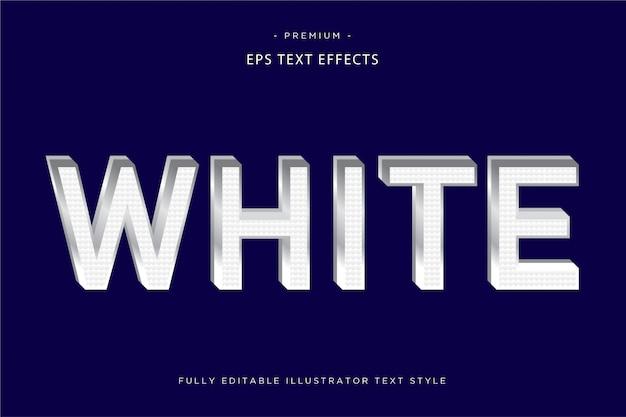 Efeito de texto 3d branco estilo de texto 3d