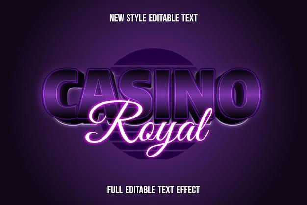Efeito de texto 3d casino real roxo e gradiente branco