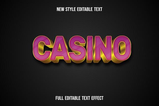 Efeito de texto 3d cassino cor rosa e dourado