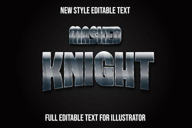 Efeito de texto 3d cavaleiro mascarado cor verde escuro e gradiente prateado