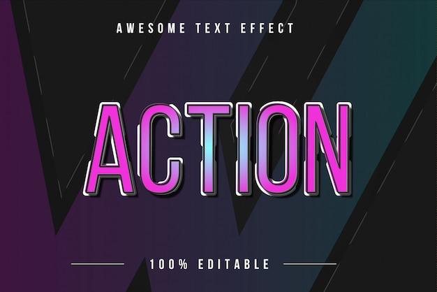 Efeito de texto 3d colorido de ação