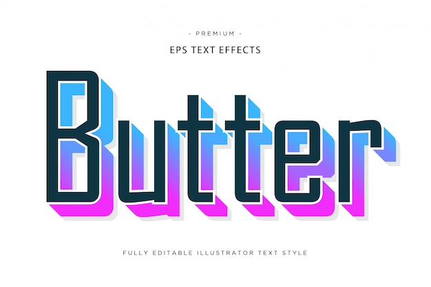 Efeito de texto 3d colorido de manteiga estilo de texto de manteiga