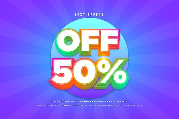 Efeito de texto 3d com 50% de desconto em fundo azul